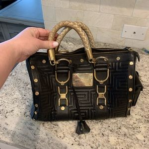 Gianni Versace Snap Out Of It Black Leather Bag